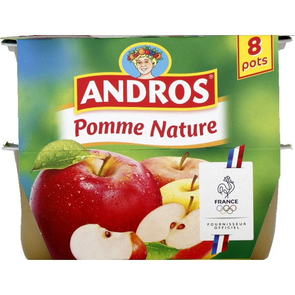 Compote pomme nature, Andros (8 x 100 g)