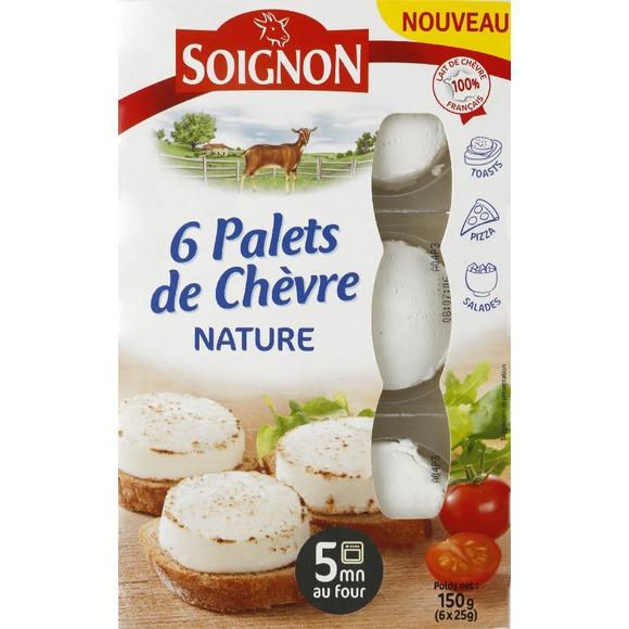 Palets de chèvre frais nature, Soignon (6 x 25 g)