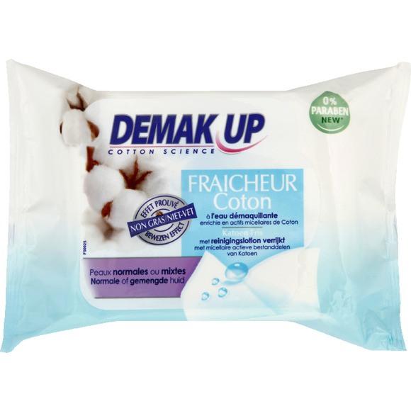 Lingettes à l'eau micellaire pour peau normale/mixte, Demak'up (x 25)