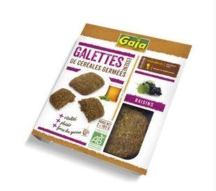 Galettes de céréales germées aux raisins BIO, Gaia (x 2, 200 g)