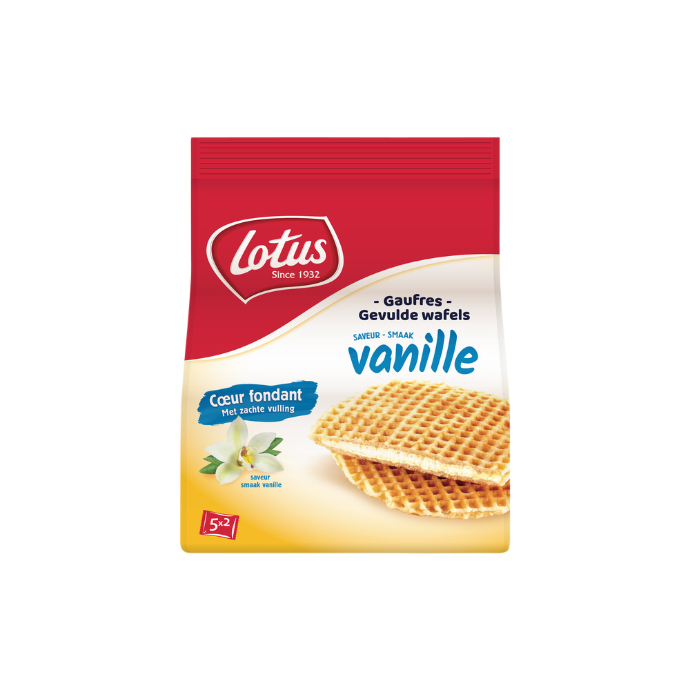 Gaufres coeur fondant vanille, Lotus Bakerie (5 x 2 gaufres, soit 310 g)