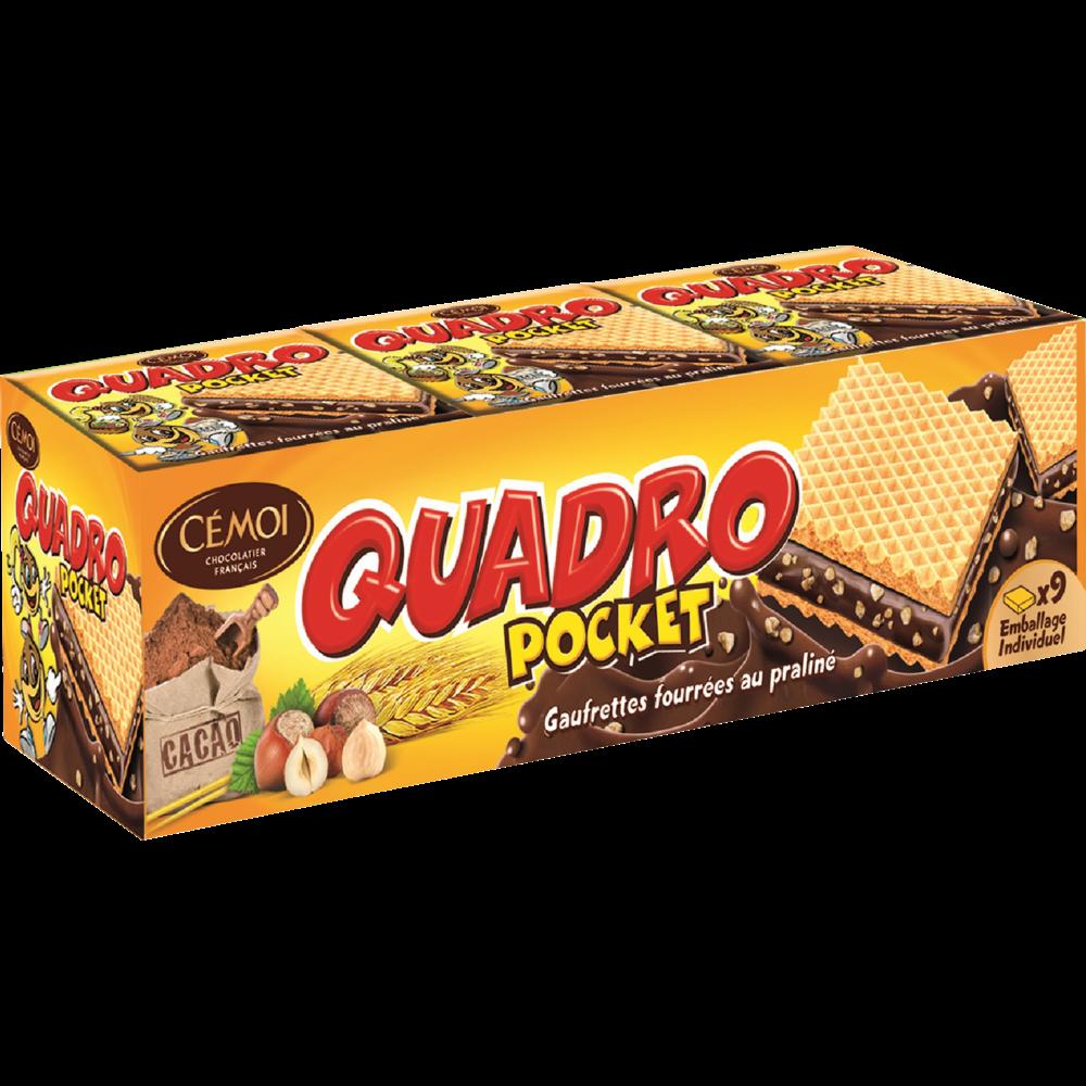 Gaufrettes fourrées pralinés Quadro Pocket, Cémoi (x 9, 187 g)