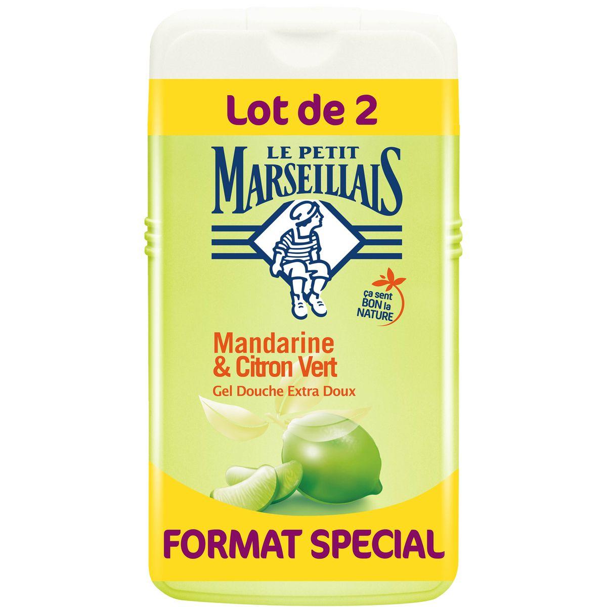 Gel douche extra doux mandarine et citron vert, Le Petit Marseillais LOT DE 2 (2 x 250 ml)