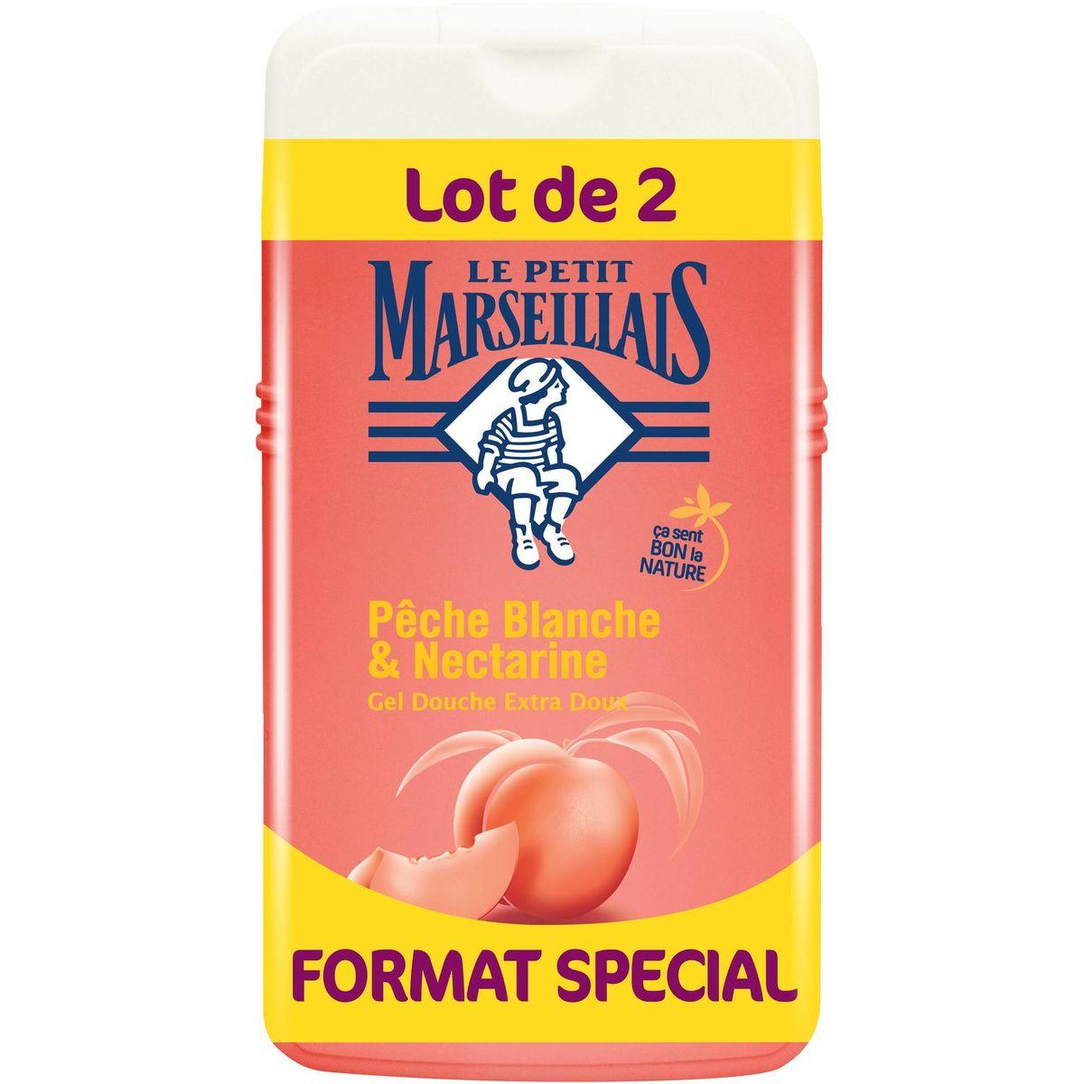 Gel douche extra doux pêche blanche et nectarine, Le Petit Marseillais LOT DE 2 (2 x 250 ml)