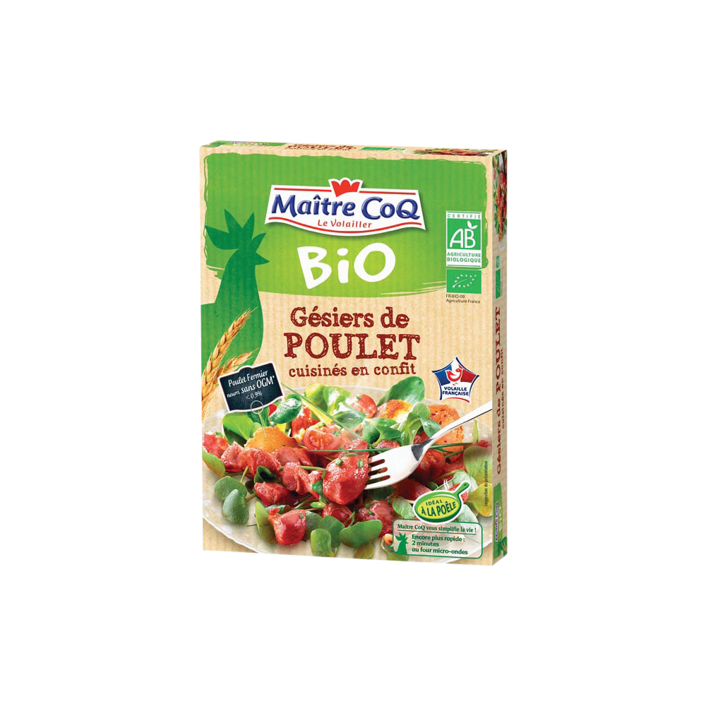 Gésiers de poulet confits BIO, Maître Coq (250 g)