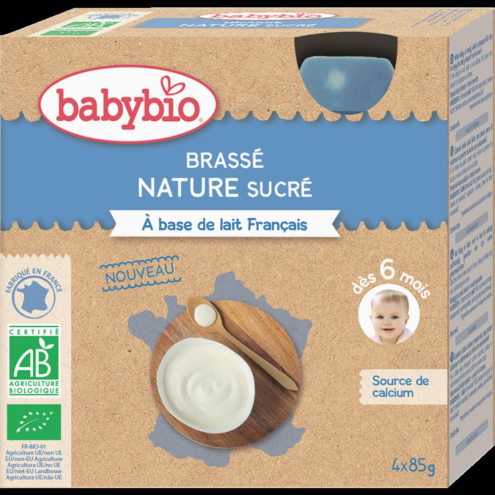 Gourde brassé nature sucré BIO - dès 6 mois, Babybio (4 x 85 g)