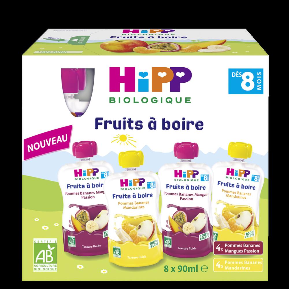 Fruits à boire 2 variétés BIO - dès 8 mois, Hipp (8 x 90 ml)
