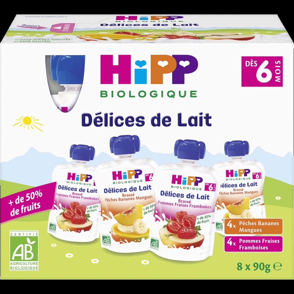 Délices de lait 2 variétés BIO - dès 6 mois, Hipp (8 x 90 g)
