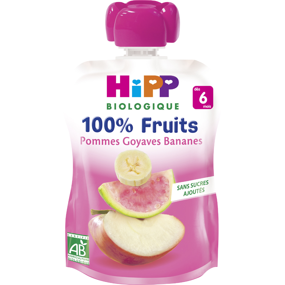 100% fruits pommes goyaves bananes BIO - dès 6 mois, Hipp (x 1, 90 g)