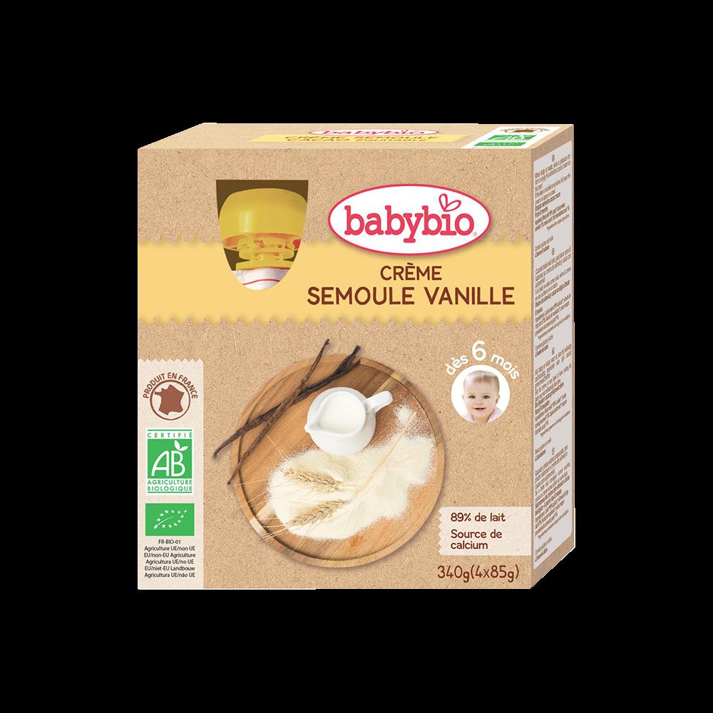 Gourde crème semoule vanille BIO - dès 6 mois, Babybio (4 x 85 g)