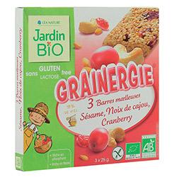 Barres moelleuses grainergie au sésame, noix de cajou et cranberry, Jardin Bio (3 x 25 g)