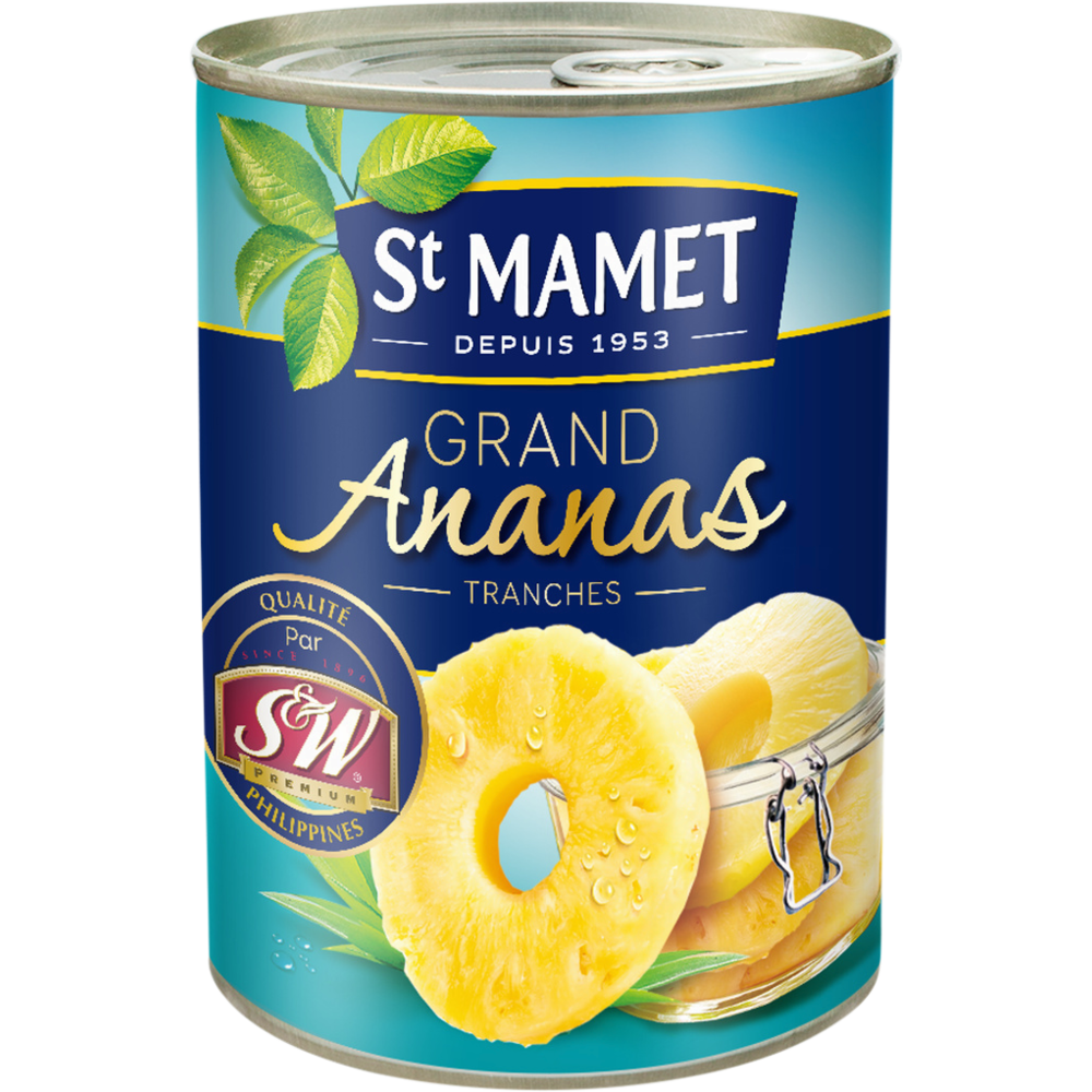 Grand ananas en tranches au sirop, St Mamet (10 tranches, 345 g)