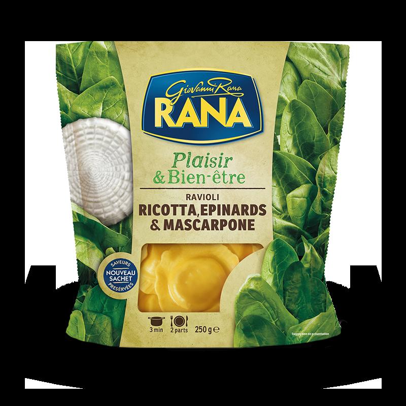 Grands ravioli ricotta et pousses d'épinard au mascarpone, Giovanni Rana (250 g)