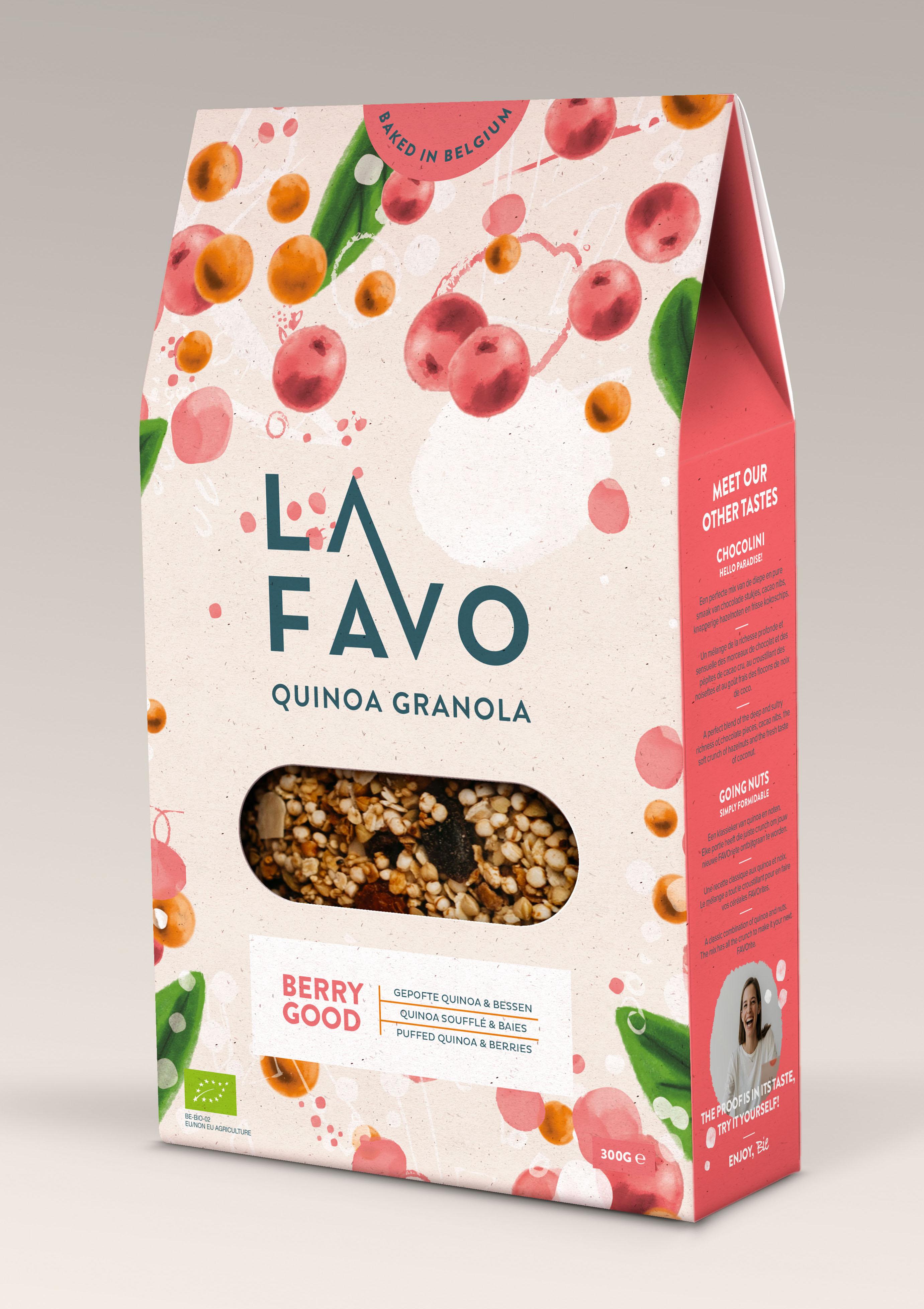 """Granola """"Berry Good"""" au quinoa soufflé et baies BIO, La Favo (300 g)"""