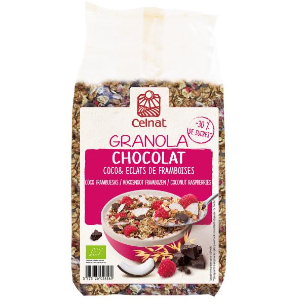 Granola chocolat-coco framboises BIO, Celnat (375 g)
