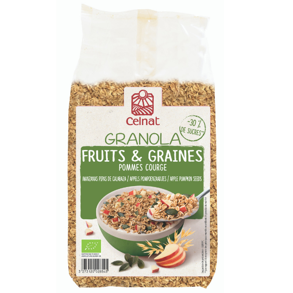 Granola fruits & graines pommes-courges BIO, Celnat (375 g)
