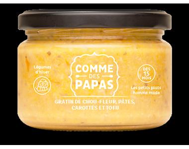 Gratin de chou-fleur, pâtes, carotte et tofu - 15 mois, Comme des papas (230 g)