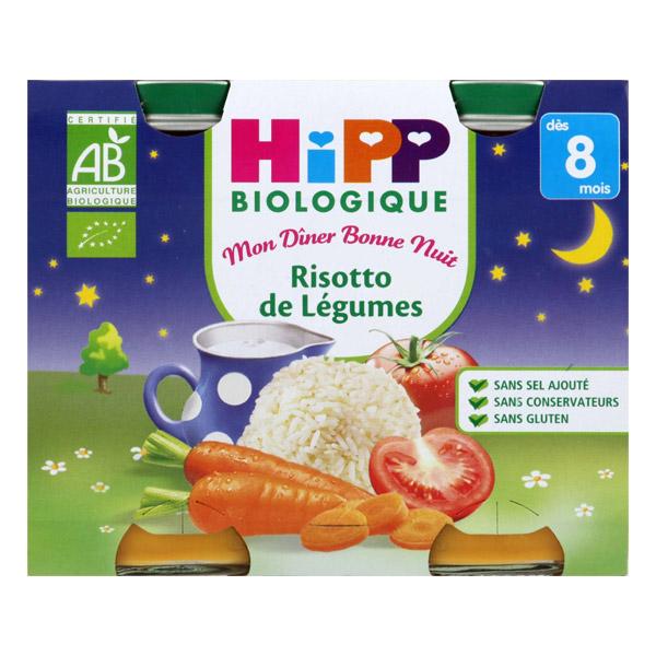 Mon diner bonne nuit risotto de légumes BIO - dès 8 mois, Hipp (2 x 190 g)