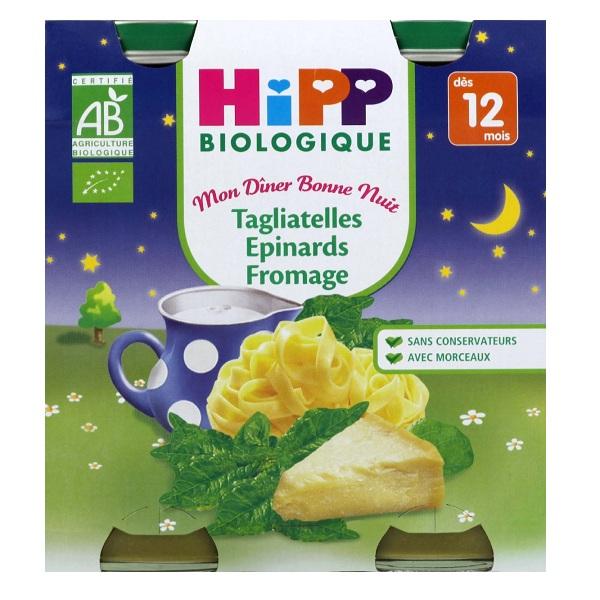 Mon diner bonne nuit tagliatelles épinards fromage BIO - dès 12 mois, Hipp (2 x 190 g)