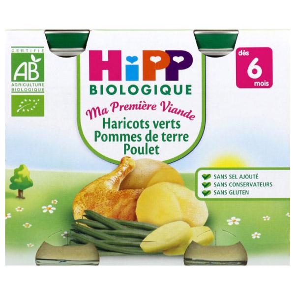 Pot ma première viande haricots verts poulet PDT BIO, Hipp (2 x 190 g)