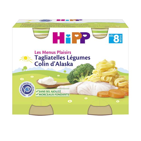 Les menus plaisir tagliatelle légumes colin BIO, Hipp (2 x 190 g)