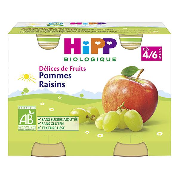 Délices de fruits pommes, raisins BIO - dès 4/6 mois, Hipp (2 x 190 g)