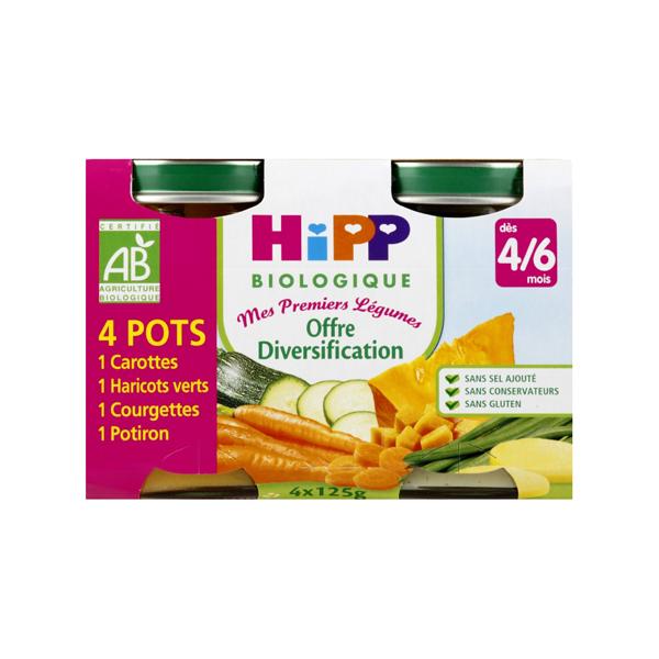 Mes premiers légumes offre diversification BIO - dès 4/6 mois, Hipp (4 x 125 g)