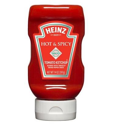 Ketchup Hot & Spicy en flacon, Heinz (397 g)