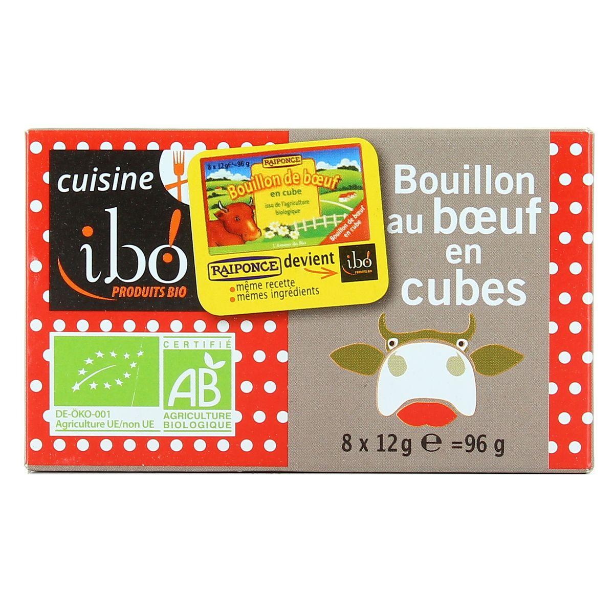 Bouillon cubes au boeuf BIO, Ibo (x 8, 96 g)