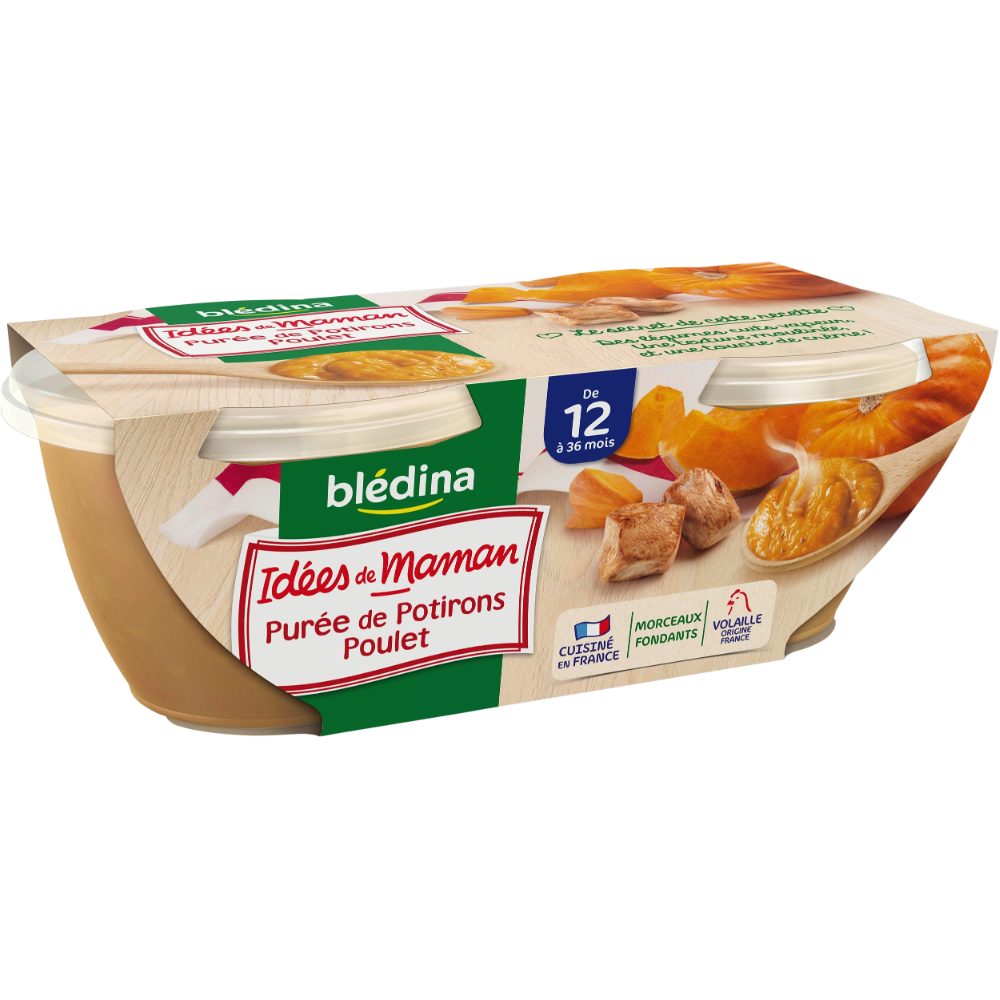 Bols purée de potiron et poulet Idées de Maman - dès 12 mois, Blédina (2 x 200 g)