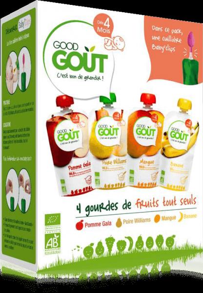 Kit Premiers Fruits BIO - dès 4 mois, Good Goût (4 x 120 g)