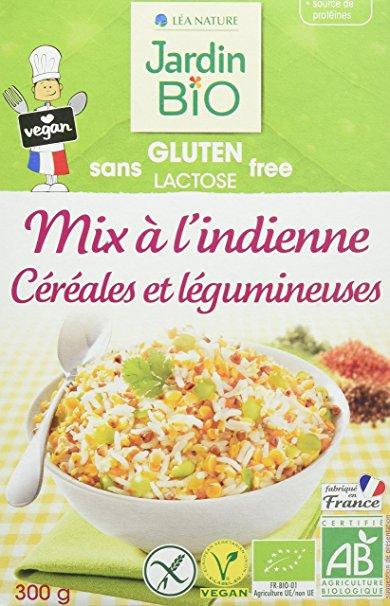 Mix à l'indienne Céréales et légumineuses sans gluten BIO, Jardin BIO (300 g)