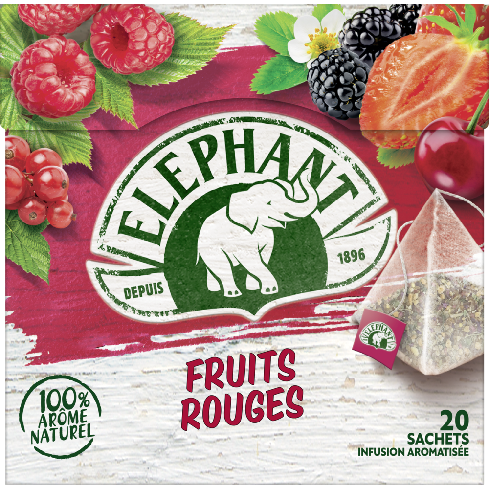 Infusion aux fruits rouges, Elephant (25 sachets)