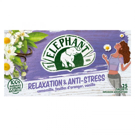 Infusion Relaxation et anti-stress, Elephant (25 sachets)