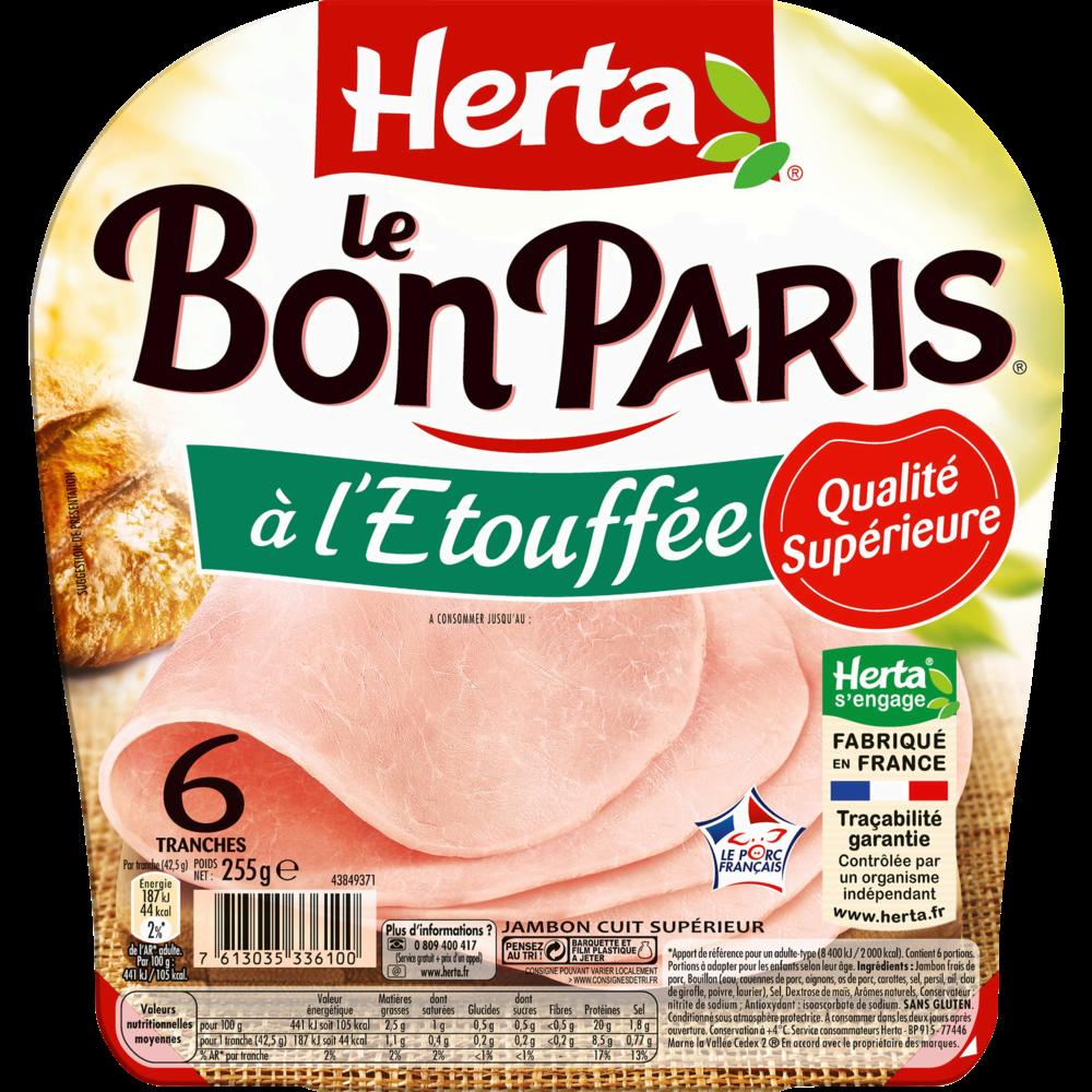 Jambon Le Bon Paris Découenné Dégraissé sans gluten, Herta (6 tranches, 255 g)