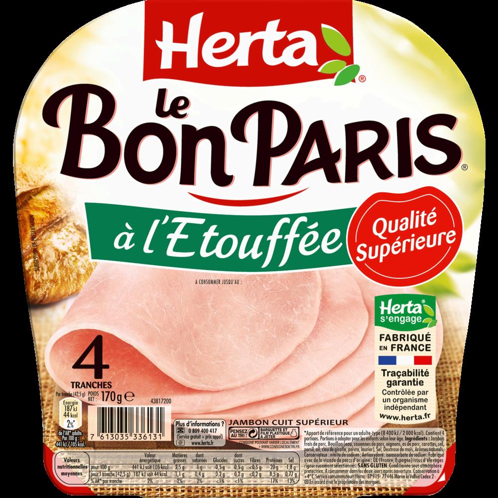 Jambon Le Bon Paris étouffée découenée dégraissée, Herta (4 tranches, 170 g)