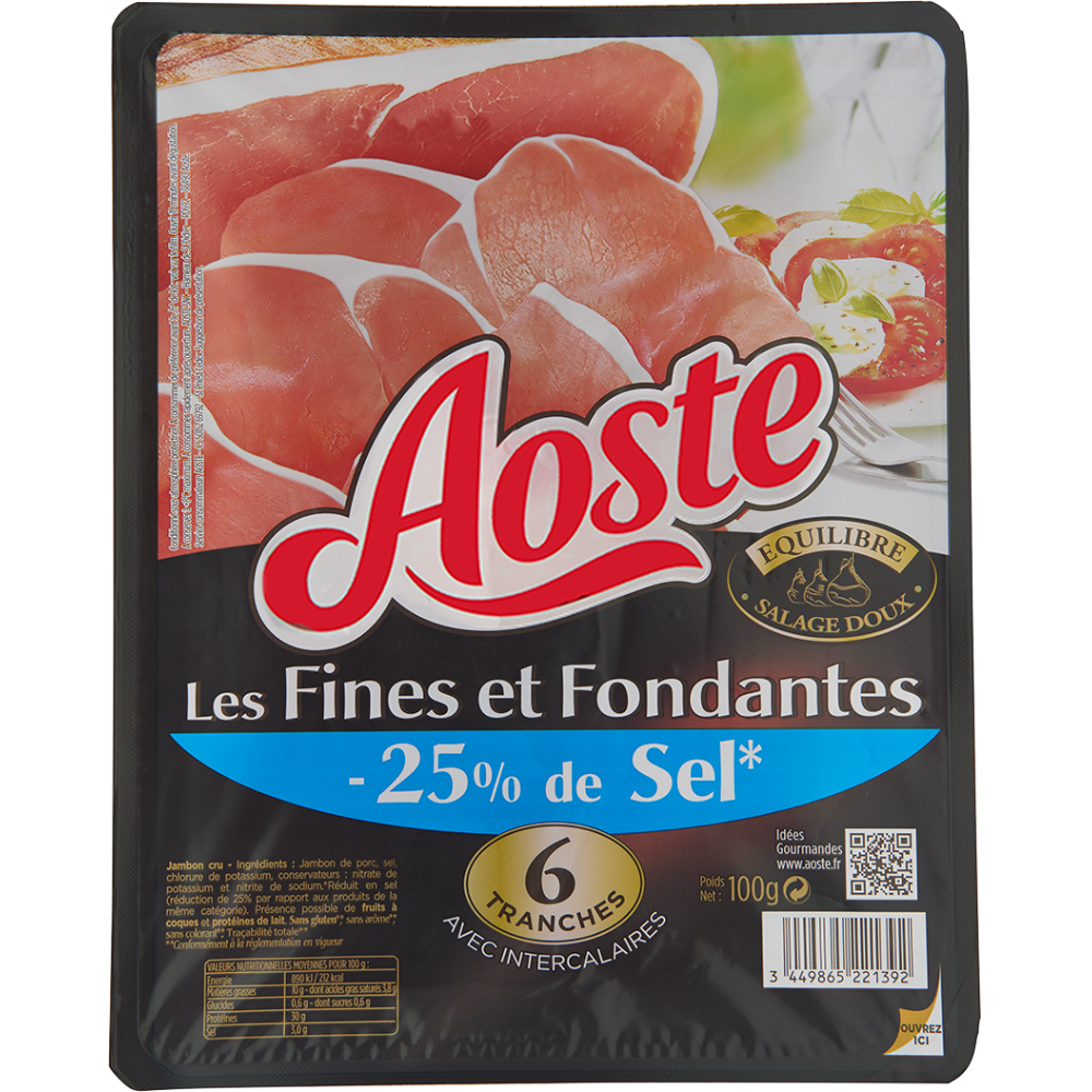 Jambon cru Les fines et fondantes -25% de sel, Aoste (6 tranches, 100 g)