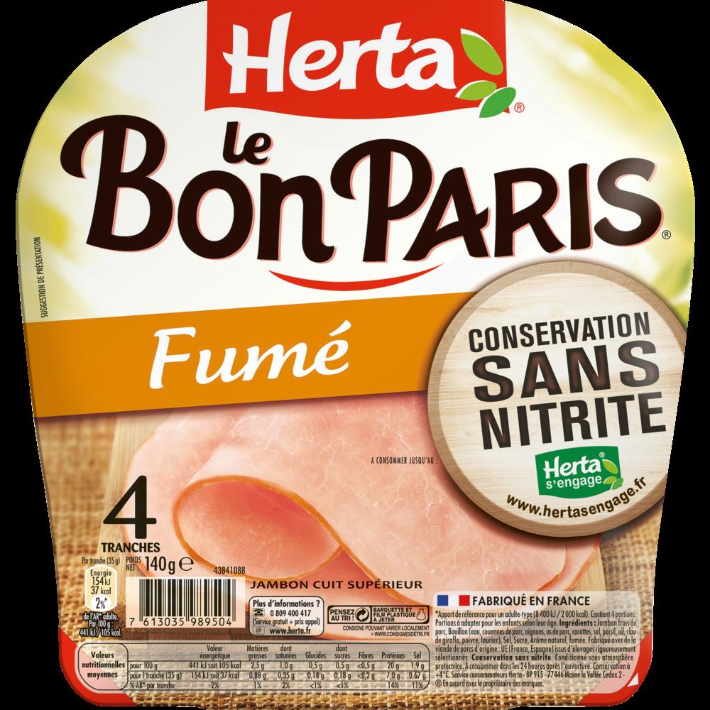 Jambon Le Bon Paris fumé conservation sans nitrites, Herta (4 tranches, 140 g)
