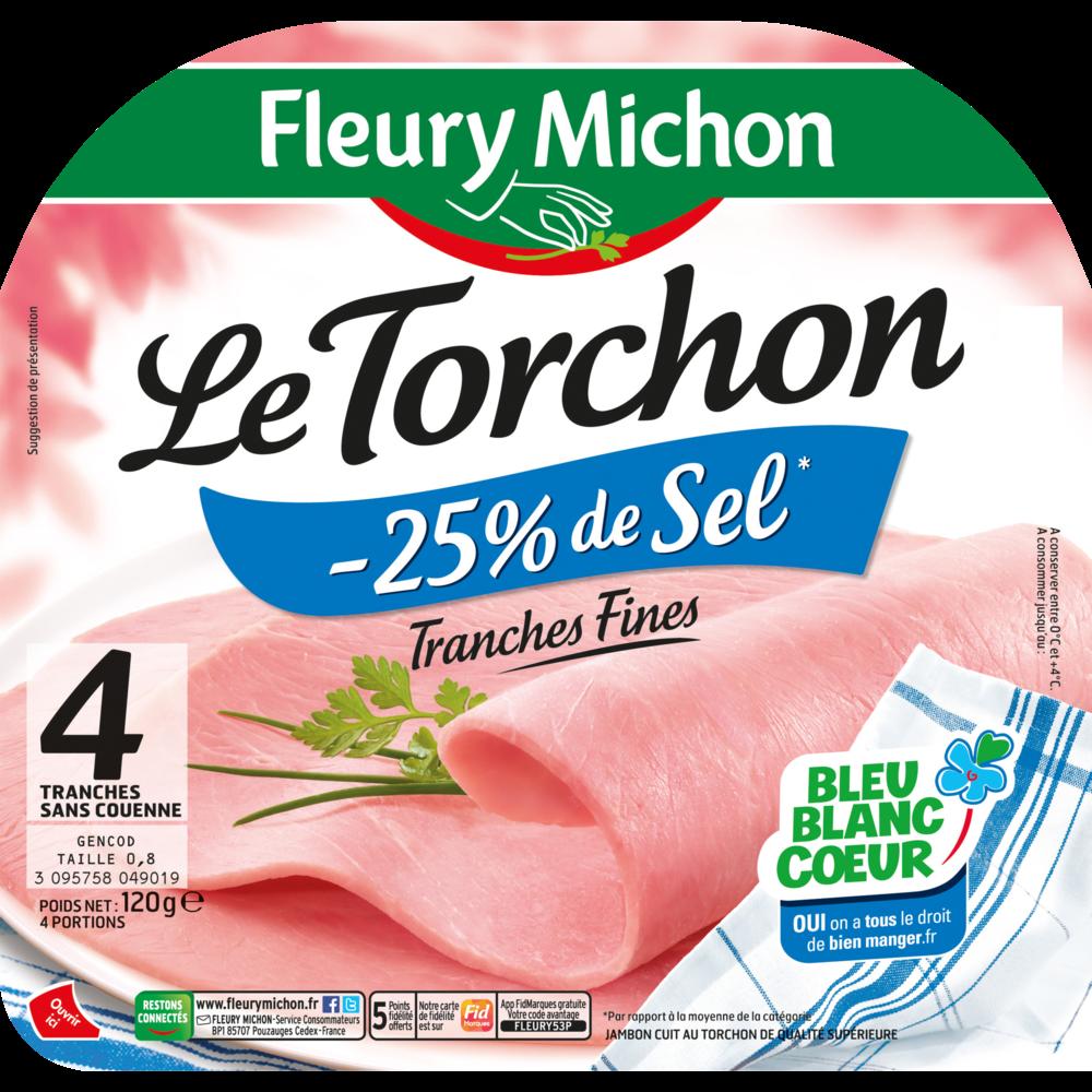 Jambon le torchon cuit à l'étouffée sans couenne -25% de sel, Fleury Michon (4 tranches, 120 g)