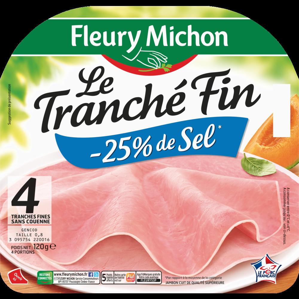 Jambon Le tranché fin dégustation sans couenne -25% de sel, Fleury Michon (4 tranches, 120 g)