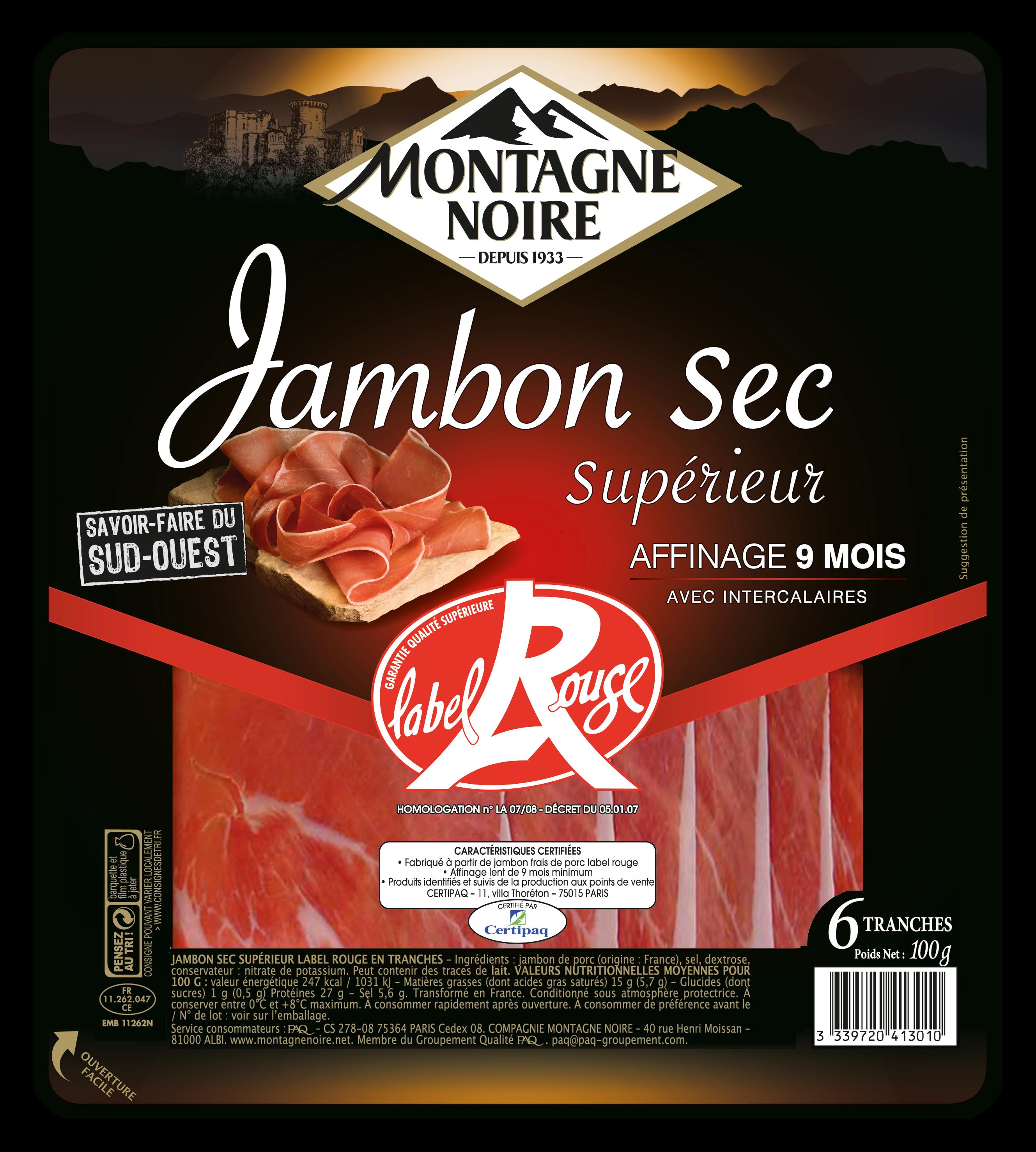 Jambon Sec Label Rouge, Montagne Noire (6 tranches, 100 g)