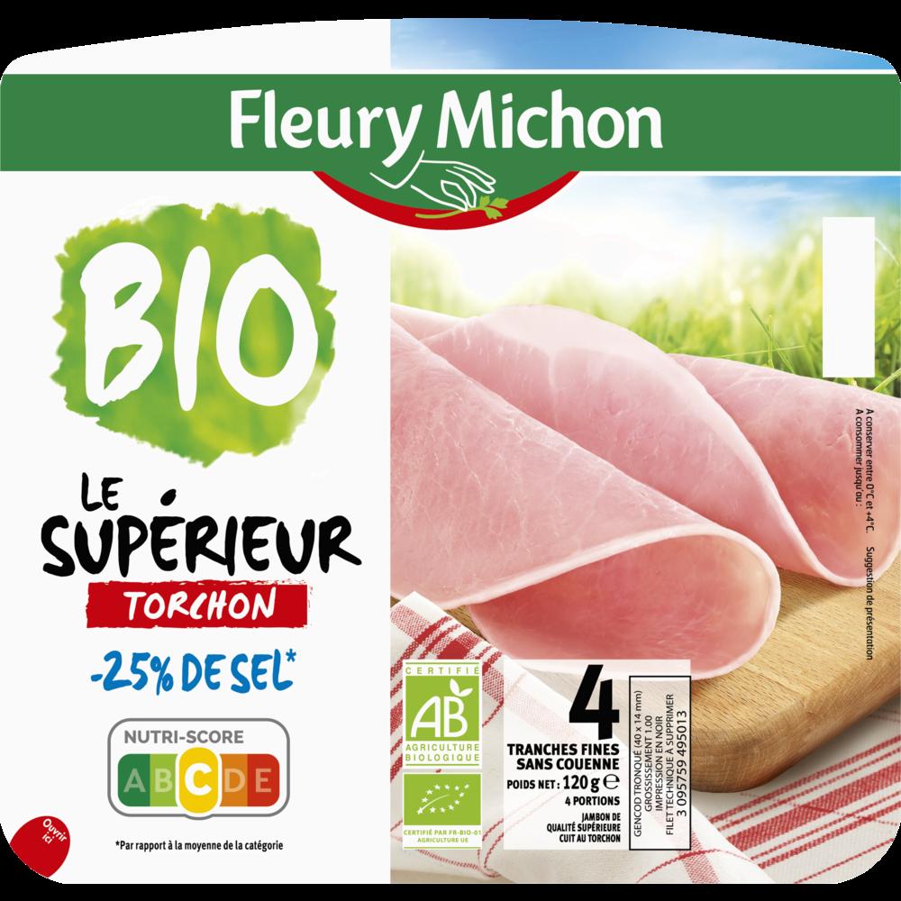 Jambon Le supérieur torchon sans couenne -25% de sel BIO, Fleury Michon (4 tranches, 120 g)