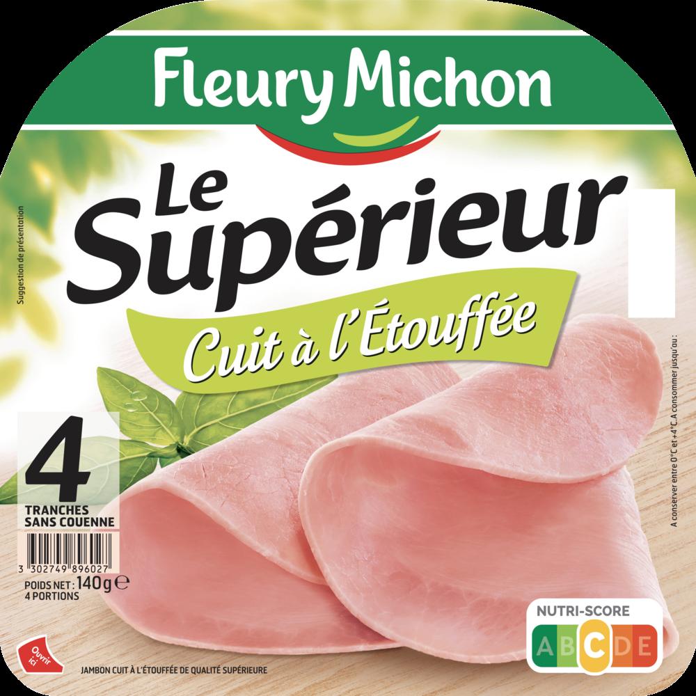Jambon Le supérieur Cuit à l'étouffée, Fleury Michon (4 tranches, 140 g)