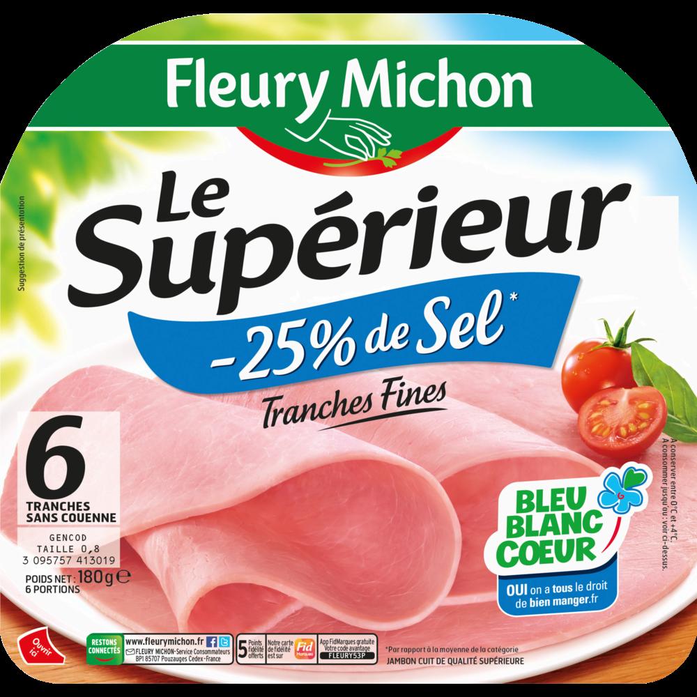 Jambon Le supérieur cuit à l'étouffée sans couenne -25%, Fleury Michon (6 tranches, 180 g)