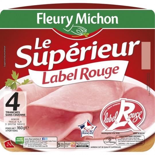 Jambon Le Supérieur Label Rouge sans couenne, Fleury Michon (4 tranches, 160 g)