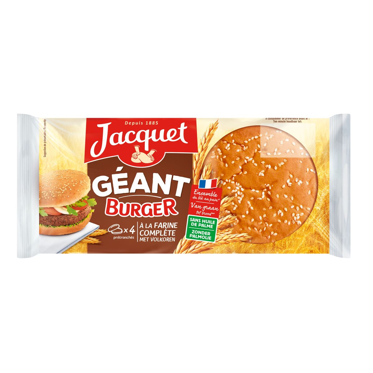 Pains hamburger géants complet, Jacquet (x 4, 330 g)