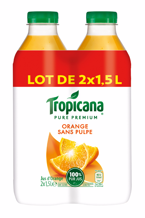 Jus d'orange sans pulpe Pure Premium, Tropicana LOT DE 2 (2 x 1,5 L)