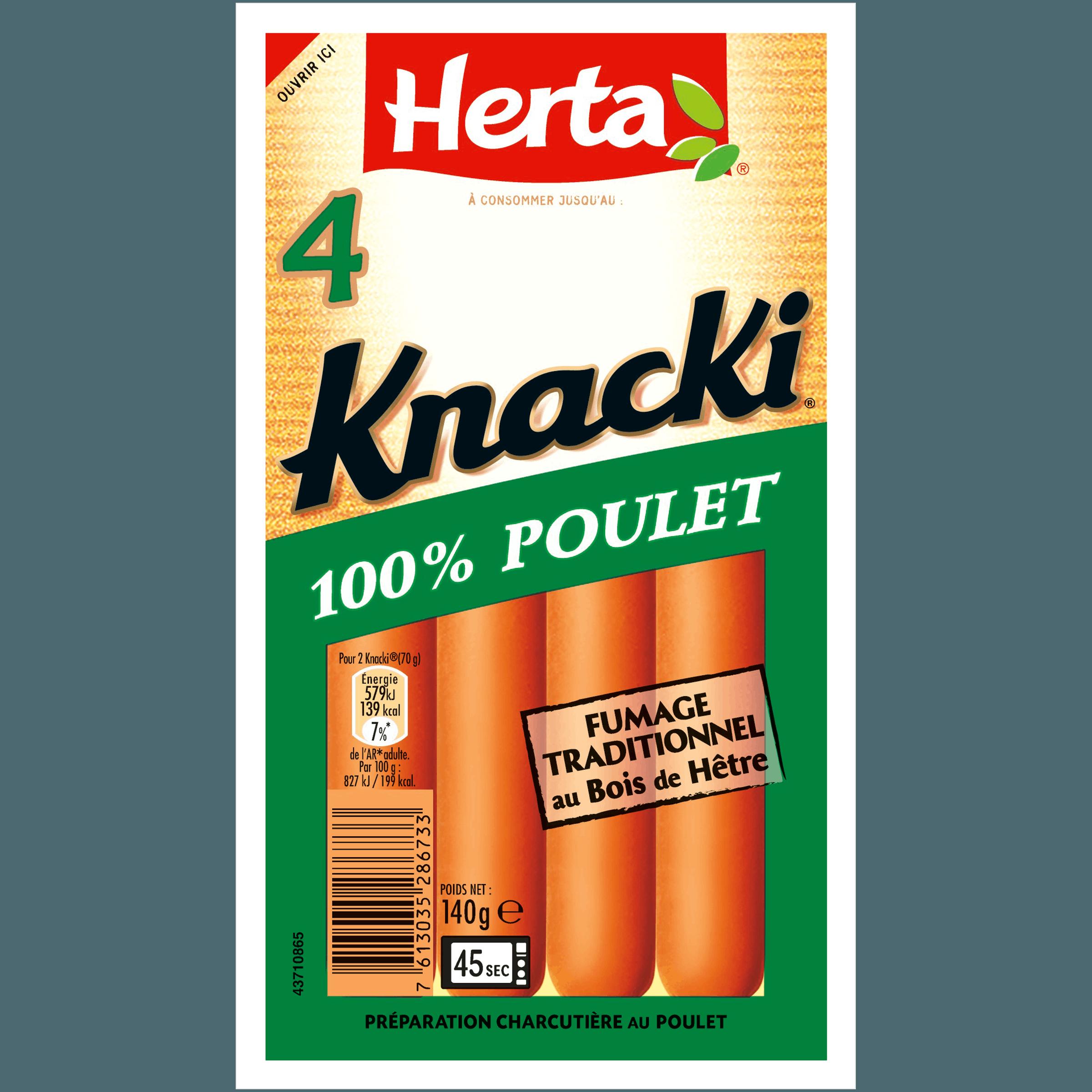 Knacki 100% poulet, Herta (x4, 140 g)