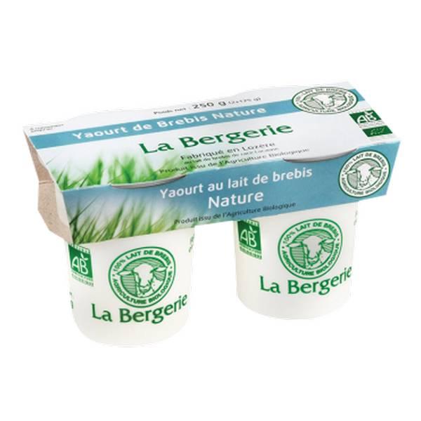 Yaourt au lait de brebis nature BIO, La Bergerie (2 x 125 g)