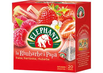 Infusion fraise framboise et rhubarbe, Elephant (20 sachets)